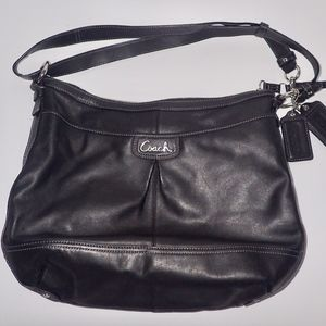 COACH PARK Purse Black Leather F19726 Duffle Tote